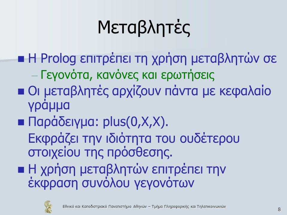 Εθνικό και Καποδιστριακό Πανεπιστήμιο Αθηνών – Τμήμα Πληροφορικής και Τηλεπικοινωνιών 8 Μεταβλητές Η Prolog επιτρέπει τη χρήση μεταβλητών σε – Γεγονότα, κανόνες και ερωτήσεις Οι μεταβλητές αρχίζουν πάντα με κεφαλαίο γράμμα Παράδειγμα: plus(0,X,X).