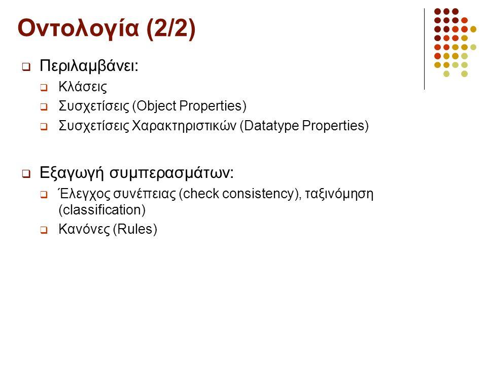 Οντολογία (2/2)  Περιλαμβάνει:  Κλάσεις  Συσχετίσεις (Object Properties)  Συσχετίσεις Χαρακτηριστικών (Datatype Properties)  Εξαγωγή συμπερασμάτων:  Έλεγχος συνέπειας (check consistency), ταξινόμηση (classification)  Κανόνες (Rules)