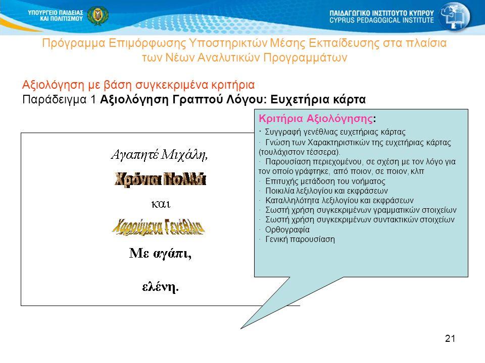 21 Πρόγραμμα Επιμόρφωσης Υποστηρικτών Μέσης Εκπαίδευσης στα πλαίσια των Νέων Αναλυτικών Προγραμμάτων Αξιολόγηση με βάση συγκεκριμένα κριτήρια Παράδειγμα 1 Αξιολόγηση Γραπτού Λόγου: Ευχετήρια κάρτα Κριτήρια Αξιολόγησης: · Συγγραφή γενέθλιας ευχετήριας κάρτας · Γνώση των Χαρακτηριστικών της ευχετήριας κάρτας (τουλάχιστον τέσσερα).