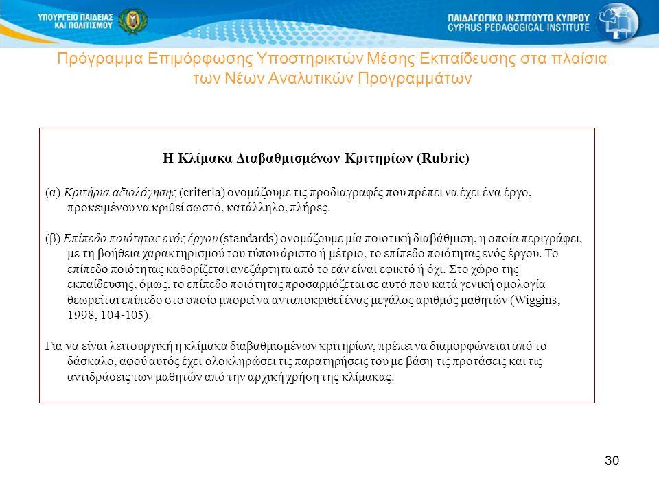 30 Πρόγραμμα Επιμόρφωσης Υποστηρικτών Μέσης Εκπαίδευσης στα πλαίσια των Νέων Αναλυτικών Προγραμμάτων Η Κλίμακα Διαβαθμισμένων Κριτηρίων (Rubric) (α) Κ