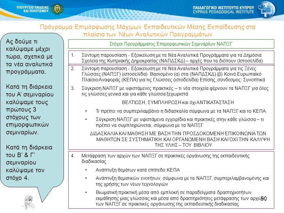 50 Πρόγραμμα Επιμόρφωσης Μάχιμων Εκπαιδευτικών Μέσης Εκπαίδευσης στα πλαίσια των Νέων Αναλυτικών Προγραμμάτων Στόχοι Προγράμματος Επιμορφωτικών Σεμιναρίων ΝΑΠΞΓ 4.Μετάφραση των αρχών των ΝΑΠΞΓ σε πρακτικές οργάνωσης της εκπαιδευτικής διαδικασίας Ανάπτυξη θεμάτων κατά επίπεδο ΚΕΠΑ Ανάπτυξη θεματικών ενοτήτων, σύμφωνα με τα ΝΑΠΞΓ, συμπεριλαμβανομένης και της χρήσης των νέων τεχνολογιών Βιωματική πρακτική μέσα από εμπλοκή σε παραδείγματα δραστηριοτήτων εκμάθησης μιας γλώσσας και μέσα από δραστηριότητες μετάφρασης των αρχών των ΝΑΠΞΓ σε πρακτικές οργάνωσης της εκπαιδευτικής διαδικασίας 2.Σύντομη παρουσίαση - Εξοικείωση με τα Νέα Αναλυτικά Προγράμματα για τις Ξένες Γλώσσες (ΝΑΠΞΓ) (ιστοσελίδα).