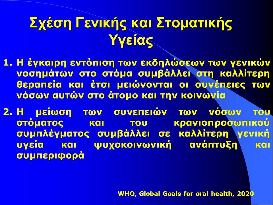 Η Ευρωπαϊκή διάσταση l Προσπάθεια ένταξης της Οδοντιατρικής στη Νέα Πολιτική Υγείας της Ε.Ε για την επόμενη δεκαετία (2007-2017) (Health in Europe: A Strategic Approach, 2007),. με τις επισημάνσεις ότι : l Ο Οδοντίατρος θα πρέπει να : «διαδραματίσει σημαντικό ρόλο στην προαγωγή της γενικής υγείας και της πρόληψης, με το να κάνει στο στόμα διάγνωση γενικών νόσων σε πρώιμο στάδιο.