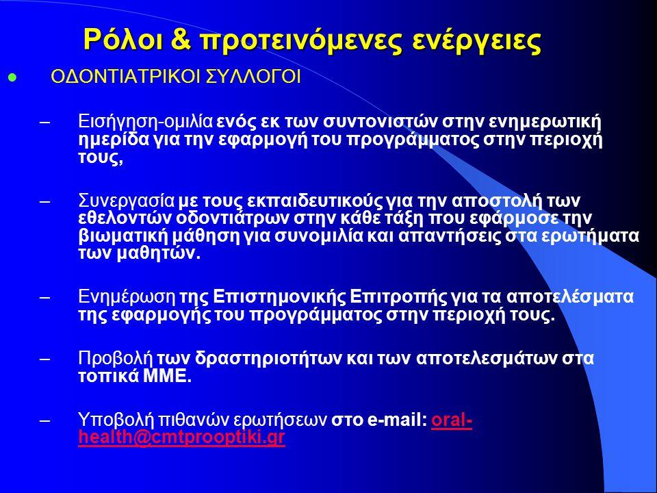 Ρόλοι & προτεινόμενες ενέργειες l ΟΔΟΝΤΙΑΤΡΙΚΟΙ ΣΥΛΛΟΓΟΙ –Εισήγηση-ομιλία ενός εκ των συντονιστών στην ενημερωτική ημερίδα για την εφαρμογή του προγράμματος στην περιοχή τους, –Συνεργασία με τους εκπαιδευτικούς για την αποστολή των εθελοντών οδοντιάτρων στην κάθε τάξη που εφάρμοσε την βιωματική μάθηση για συνομιλία και απαντήσεις στα ερωτήματα των μαθητών.