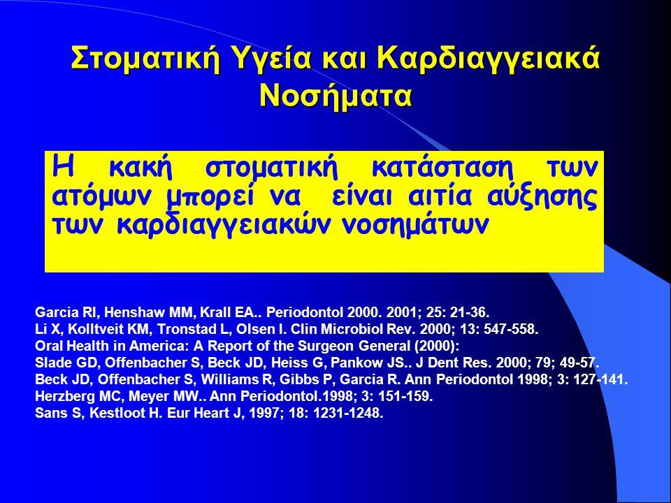 Στοματική Υγεία και Καρδιαγγειακά Νοσήματα Garcia RI, Henshaw MM, Krall EA..