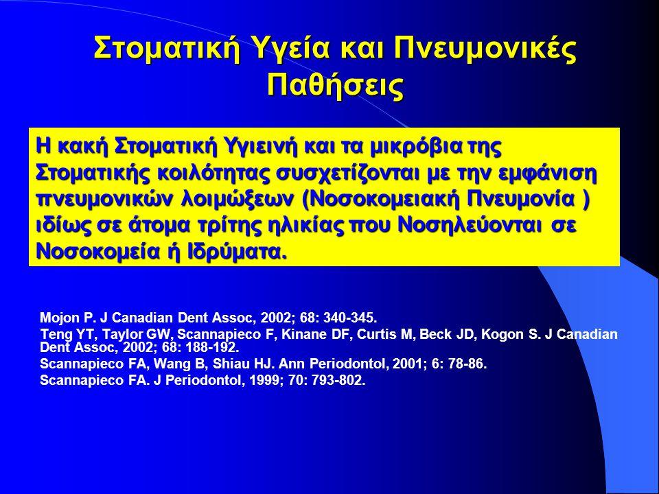 Στοματική Υγεία και Πνευμονικές Παθήσεις Mojon P. J Canadian Dent Assoc, 2002; 68: 340-345.