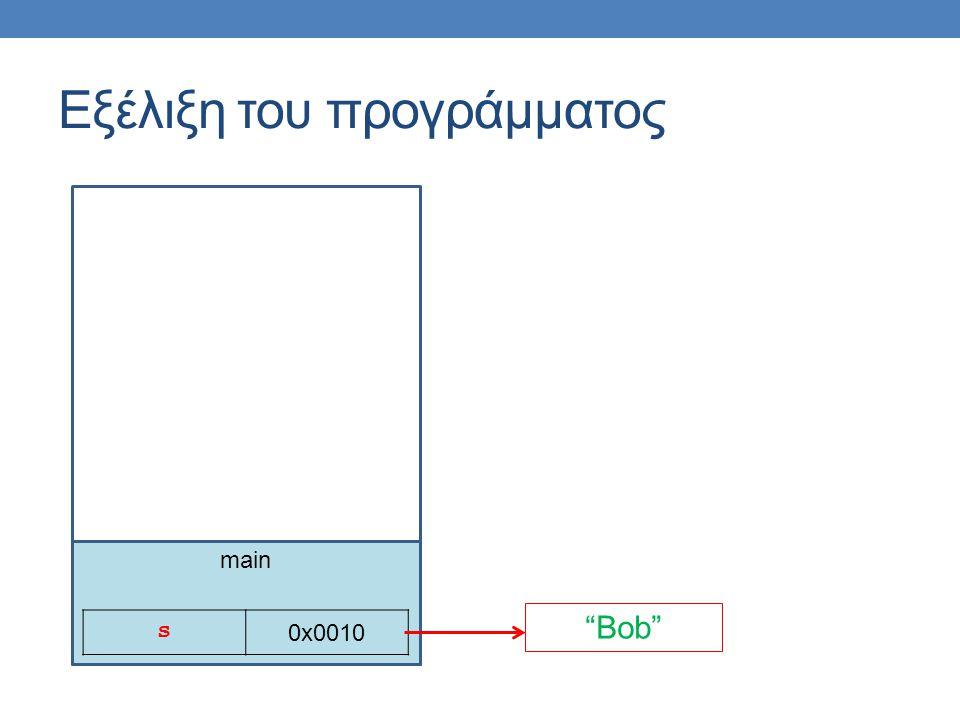 main Εξέλιξη του προγράμματος s 0x0010 Bob