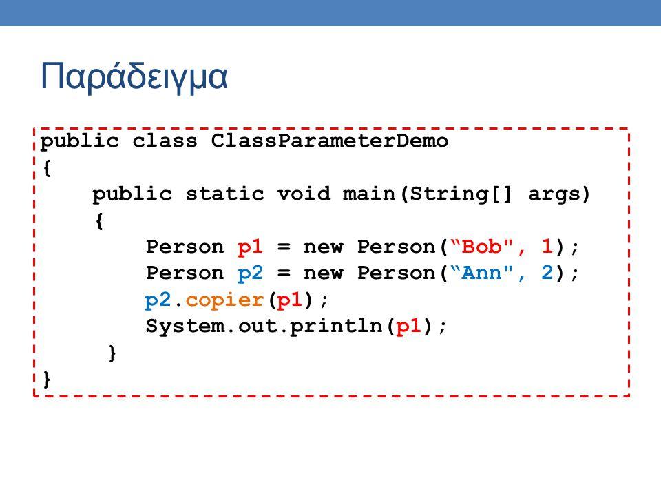 Παράδειγμα public class ClassParameterDemo { public static void main(String[] args) { Person p1 = new Person( Bob , 1); Person p2 = new Person( Ann , 2); p2.copier(p1); System.out.println(p1); }
