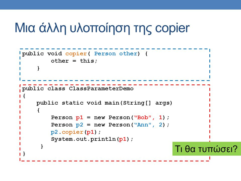 Μια άλλη υλοποίηση της copier public void copier( Person other) { other = this; } public class ClassParameterDemo { public static void main(String[] args) { Person p1 = new Person( Bob , 1); Person p2 = new Person( Ann , 2); p2.copier(p1); System.out.println(p1); } Τι θα τυπώσει