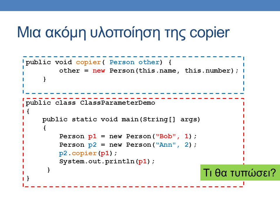Μια ακόμη υλοποίηση της copier public void copier( Person other) { other = new Person(this.name, this.number); } public class ClassParameterDemo { public static void main(String[] args) { Person p1 = new Person( Bob , 1); Person p2 = new Person( Ann , 2); p2.copier(p1); System.out.println(p1); } Τι θα τυπώσει