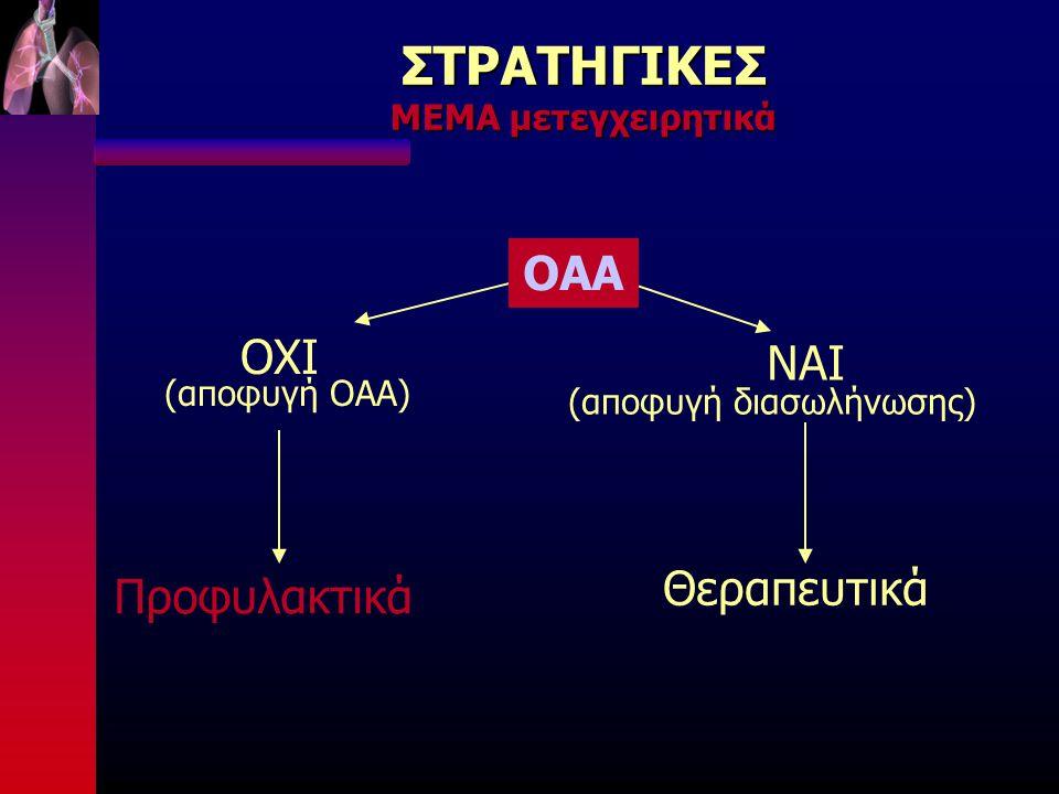 ΣΤΡΑΤΗΓΙΚΕΣ ΜΕΜΑ μετεγχειρητικά ΟΑΑ ΟΧΙ (αποφυγή ΟΑΑ) Προφυλακτικά ΝΑΙ (αποφυγή διασωλήνωσης) Θεραπευτικά