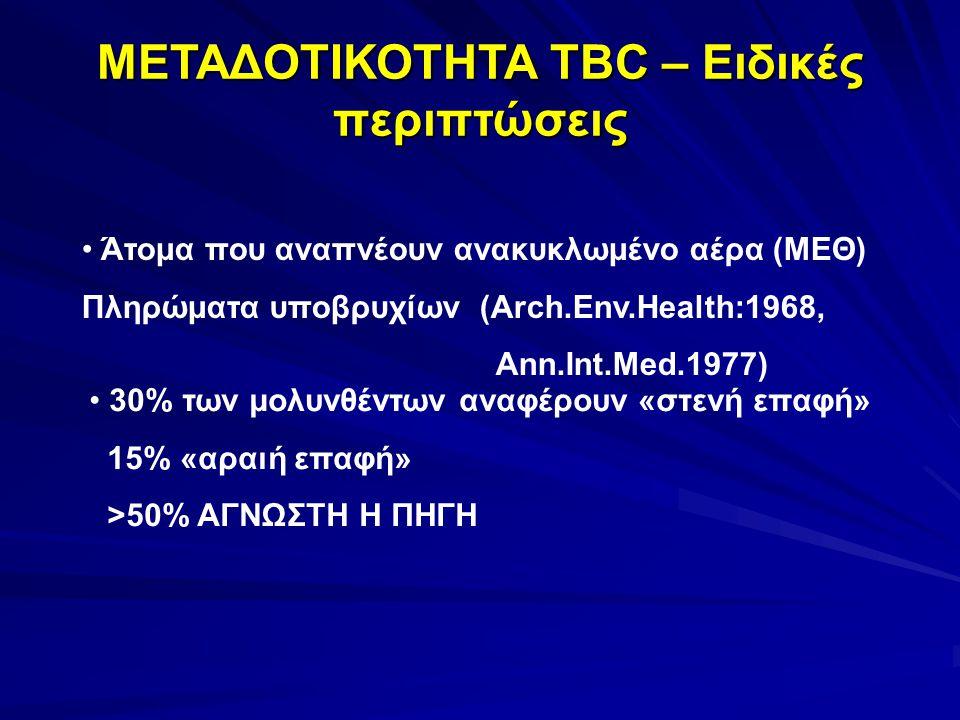 ΜΕΤΑΔΟΤΙΚΟΤΗΤΑ TBC – Ειδικές περιπτώσεις Άτομα που αναπνέουν ανακυκλωμένο αέρα (ΜΕΘ) Πληρώματα υποβρυχίων (Arch.Env.Health:1968, Ann.Int.Med.1977) 30% των μολυνθέντων αναφέρουν «στενή επαφή» 15% «αραιή επαφή» >50% ΑΓΝΩΣΤΗ Η ΠΗΓΗ
