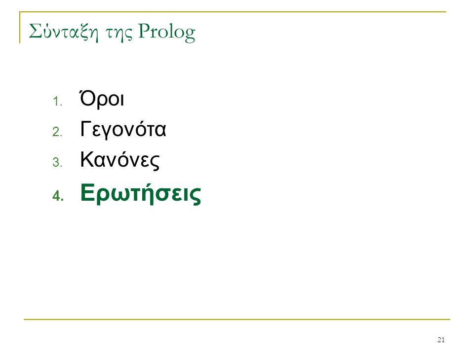 21 Σύνταξη της Prolog 1. Όροι 2. Γεγονότα 3. Κανόνες 4. Ερωτήσεις