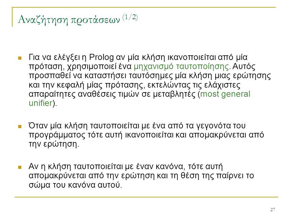 27 Αναζήτηση προτάσεων (1/2) Για να ελέγξει η Prolog αν μία κλήση ικανοποιείται από μία πρόταση, χρησιμοποιεί ένα μηχανισμό ταυτοποίησης. Αυτός προσπα