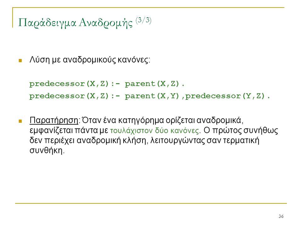 36 Παράδειγμα Αναδρομής (3/3) Λύση με αναδρομικούς κανόνες: predecessor(X,Z):- parent(X,Z). predecessor(X,Z):- parent(X,Y),predecessor(Y,Z). Παρατήρησ