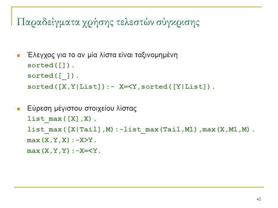 45 Παραδείγματα χρήσης τελεστών σύγκρισης Έλεγχος για το αν μία λίστα είναι ταξινομημένη sorted([]). sorted([_]). sorted([X,Y|List]):- X=<Y,sorted([Y|