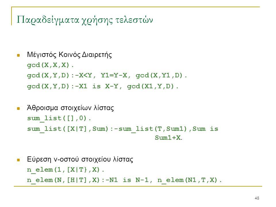 48 Παραδείγματα χρήσης τελεστών Μέγιστός Κοινός Διαιρετής gcd(X,X,X). gcd(X,Y,D):-X<Y, Y1=Y-X, gcd(X,Y1,D). gcd(X,Y,D):-X1 is X-Y, gcd(X1,Y,D). Άθροισ