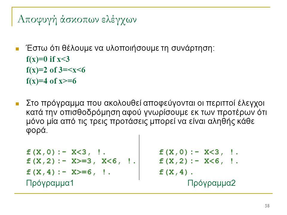 58 Αποφυγή άσκοπων ελέγχων Έστω ότι θέλουμε να υλοποιήσουμε τη συνάρτηση: f(x)=0 if x<3 f(x)=2 of 3=<x<6 f(x)=4 of x>=6 Στο πρόγραμμα που ακολουθεί απ