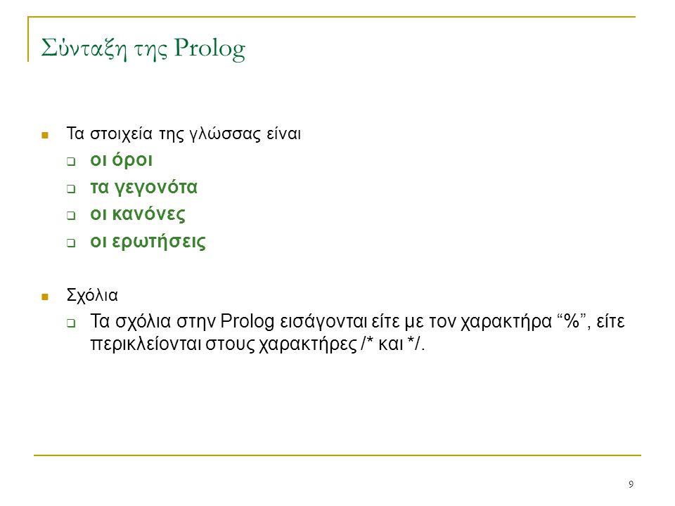 9 Σύνταξη της Prolog Τα στοιχεία της γλώσσας είναι  οι όροι  τα γεγονότα  οι κανόνες  οι ερωτήσεις Σχόλια  Τα σχόλια στην Prolog εισάγονται είτε
