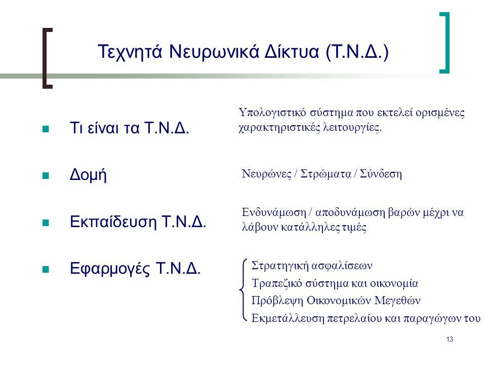 13 Τεχνητά Νευρωνικά Δίκτυα (Τ.Ν.Δ.) Τι είναι τα Τ.Ν.Δ. Δομή Εκπαίδευση Τ.Ν.Δ. Εφαρμογές Τ.Ν.Δ. Στρατηγική ασφαλίσεων Τραπεζικό σύστημα και οικονομία