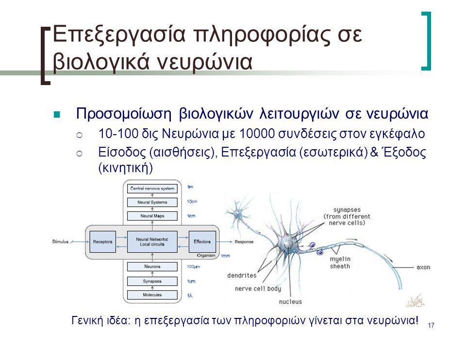17 Επεξεργασία πληροφορίας σε βιολογικά νευρώνια Προσομοίωση βιολογικών λειτουργιών σε νευρώνια  10-100 δις Νευρώνια με 10000 συνδέσεις στον εγκέφαλο