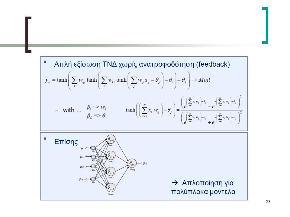 23 Απλή εξίσωση ΤΝΔ χωρίς ανατροφοδότηση (feedback) Επίσης  Απλοποίηση για πολύπλοκα μοντέλα