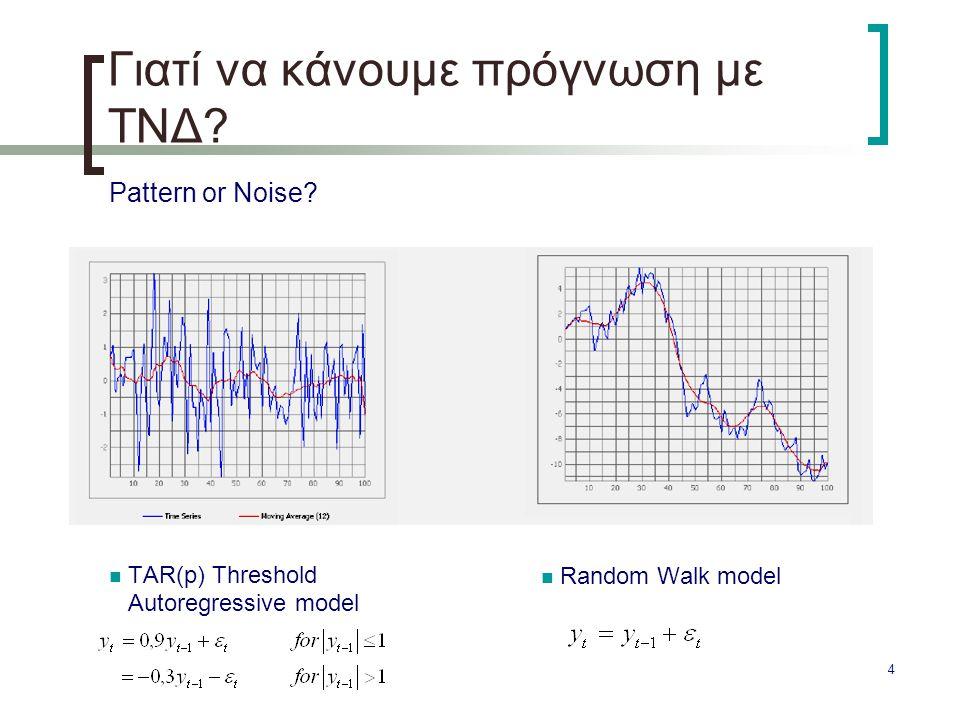 4 Γιατί να κάνουμε πρόγνωση με ΤΝΔ? Pattern or Noise? TAR(p) Threshold Autoregressive model Random Walk model