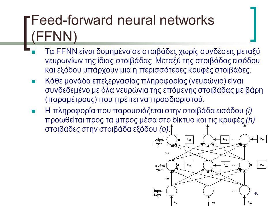 46 Feed-forward neural networks (FFNN) Τα FFNN είναι δομημένα σε στοιβάδες χωρίς συνδέσεις μεταξύ νευρωνίων της ίδιας στοιβάδας. Μεταξύ της στοιβάδας