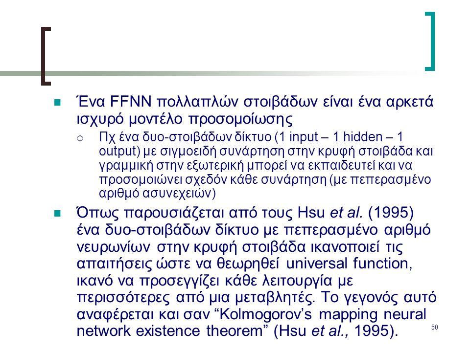 50 Ένα FFNN πολλαπλών στοιβάδων είναι ένα αρκετά ισχυρό μοντέλο προσομοίωσης  Πχ ένα δυο-στοιβάδων δίκτυο (1 input – 1 hidden – 1 output) με σιγμοειδ
