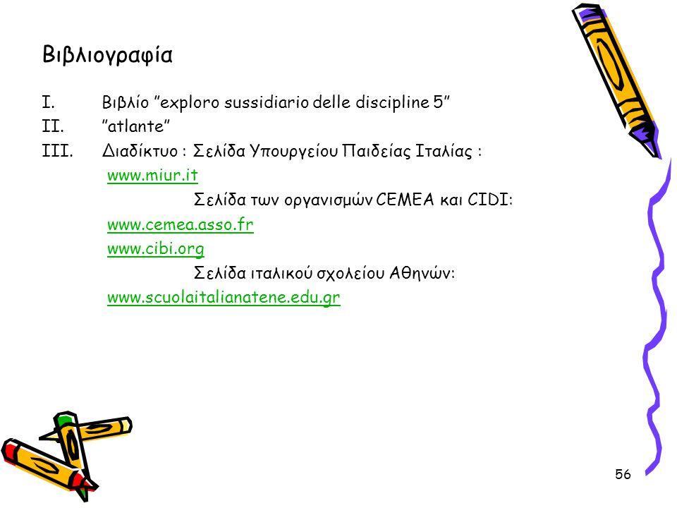 """56 Βιβλιογραφία I.Βιβλίο """"exploro sussidiario delle discipline 5"""" II.""""atlante"""" III.Διαδίκτυο : Σελίδα Υπουργείου Παιδείας Ιταλίας : www.miur.it Σελίδα"""