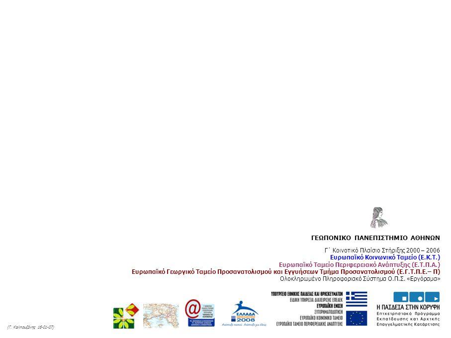 Γ΄ Κοινοτικό Πλαίσιο Στήριξης 2000 – 2006 Ευρωπαϊκό Κοινωνικό Ταμείο (Ε.Κ.Τ.) Ευρωπαϊκό Ταμείο Περιφερειακό Ανάπτυξης (Ε.Τ.Π.Α.) Ευρωπαϊκό Γεωργικό Ταμείο Προσανατολισμού και Εγγυήσεων Τμήμα Προσανατολισμού (Ε.Γ.Τ.Π.Ε.– Π) Ολοκληρωμένο Πληροφοριακό Σύστημα Ο.Π.Σ.