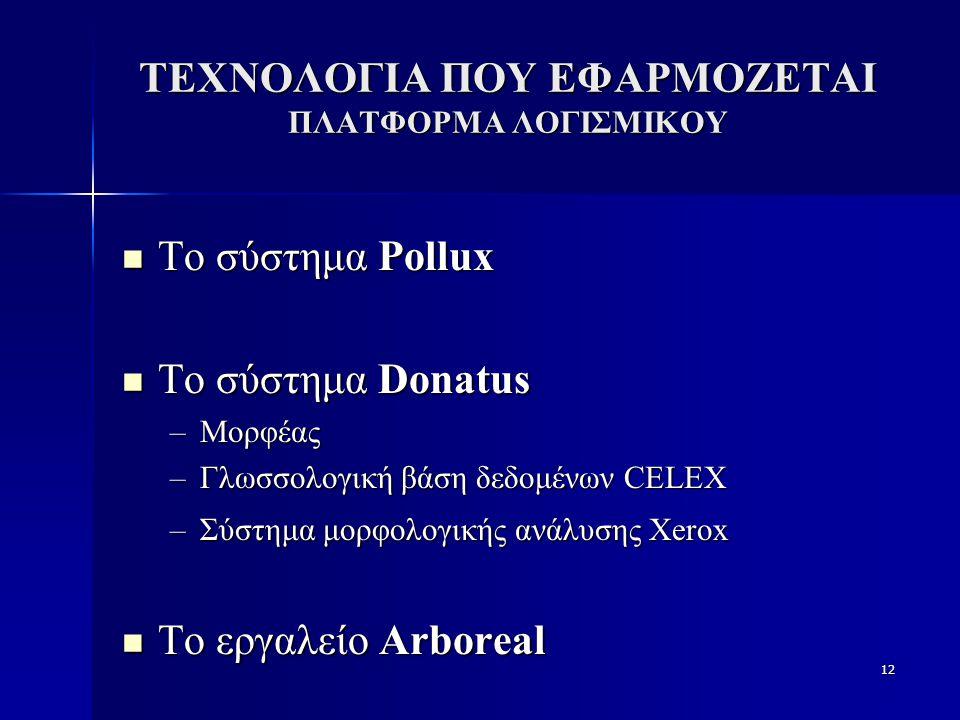 12 ΤΕΧΝΟΛΟΓΙΑ ΠΟΥ ΕΦΑΡΜΟΖΕΤΑΙ ΠΛΑΤΦΟΡΜΑ ΛΟΓΙΣΜΙΚΟΥ Το σύστημα Pollux Το σύστημα Pollux Το σύστημα Donatus Το σύστημα Donatus –Μορφέας –Γλωσσολογική βάση δεδομένων CELEX –Σύστημα μορφολογικής ανάλυσης Xerox Το εργαλείο Arboreal Το εργαλείο Arboreal