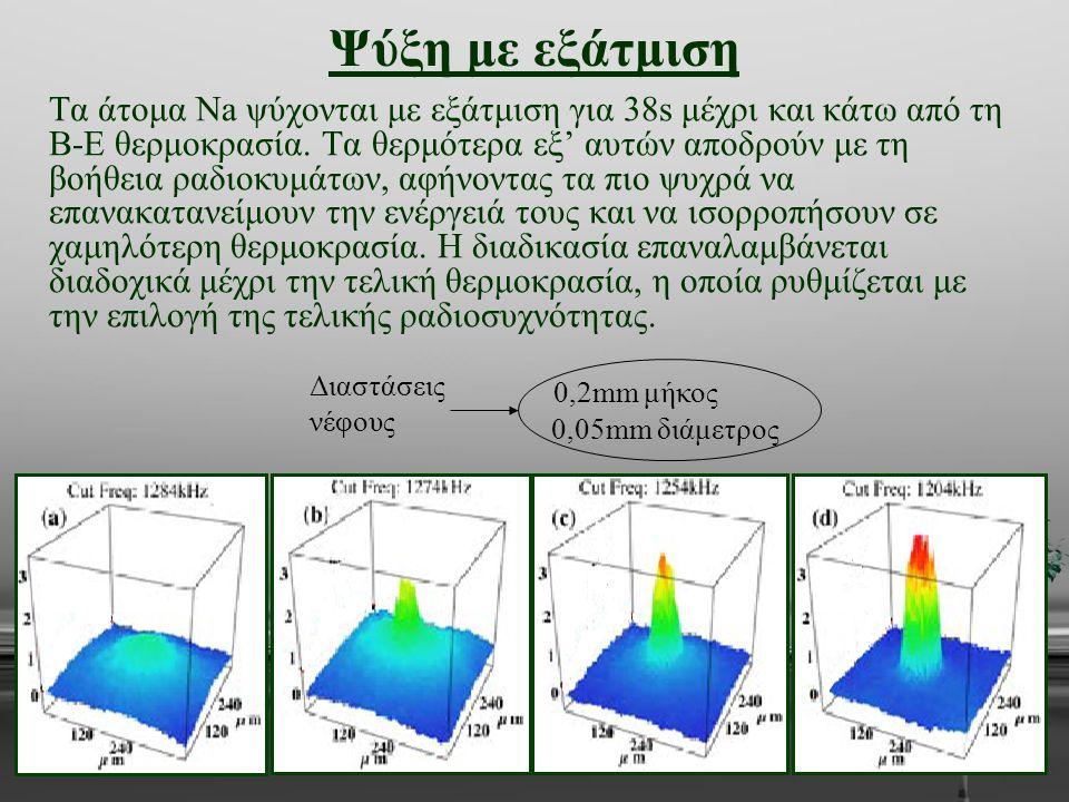 Ψύξη με εξάτμιση Τα άτομα Na ψύχονται με εξάτμιση για 38s μέχρι και κάτω από τη Β-Ε θερμοκρασία. Τα θερμότερα εξ' αυτών αποδρούν με τη βοήθεια ραδιοκυ