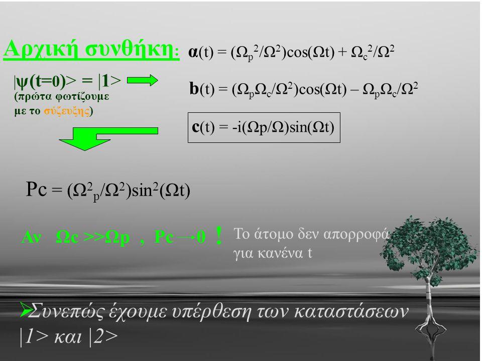 Αρχική συνθήκη : | ψ(t= 0 )> = |1> α (t) = (Ω p 2 /Ω 2 )cos(Ωt) + Ω c 2 /Ω 2 b (t) = (Ω p Ω c /Ω 2 )cos(Ωt) – Ω p Ω c /Ω 2 c (t) = -i(Ωp/Ω)sin(Ωt) Pc