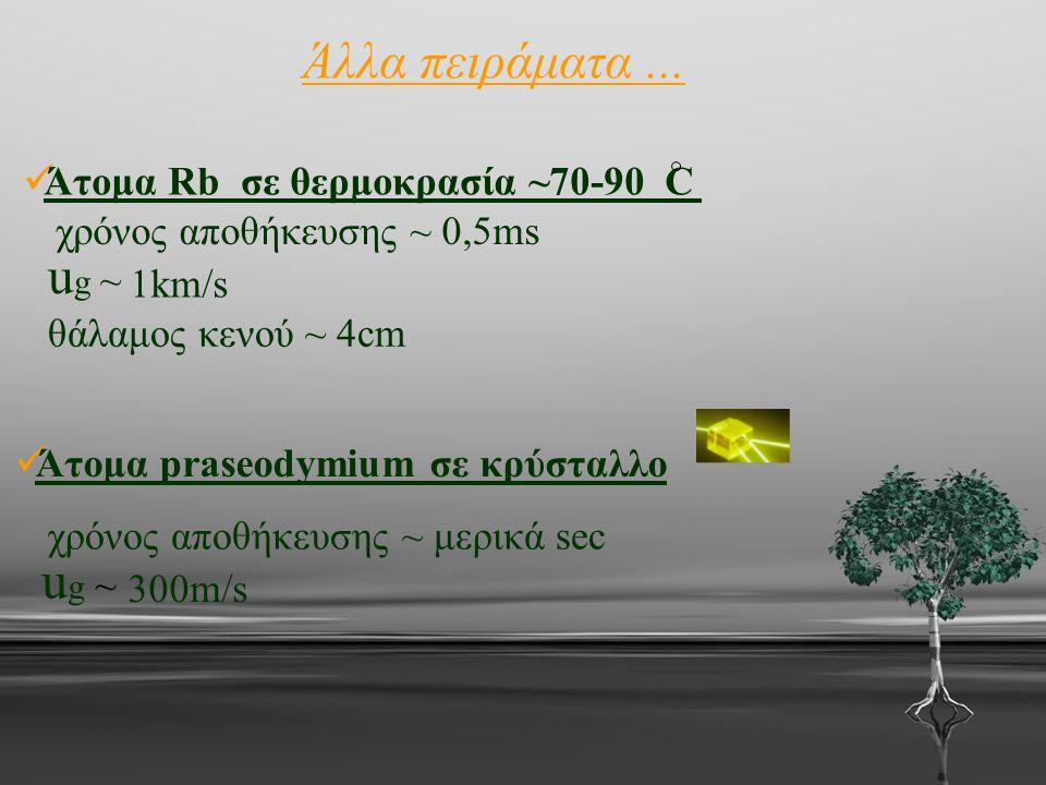 Άλλα πειράματα... Άτομα Rb σε θερμοκρασία ~70-90 C χρόνος αποθήκευσης ~ 0,5ms ug ~ug ~ 1km/s θάλαμος κενού ~ 4cm Άτομα praseodymium σε κρύσταλλο χρόνο