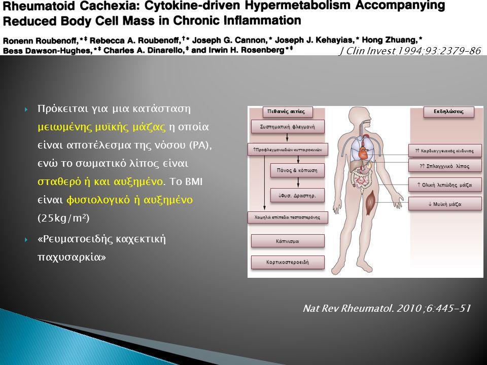 Πρόκειται για μια κατάσταση μειωμένης μυϊκής μάζας η οποία είναι αποτέλεσμα της νόσου (ΡΑ), ενώ το σωματικό λίπος είναι σταθερό ή και αυξημένο.