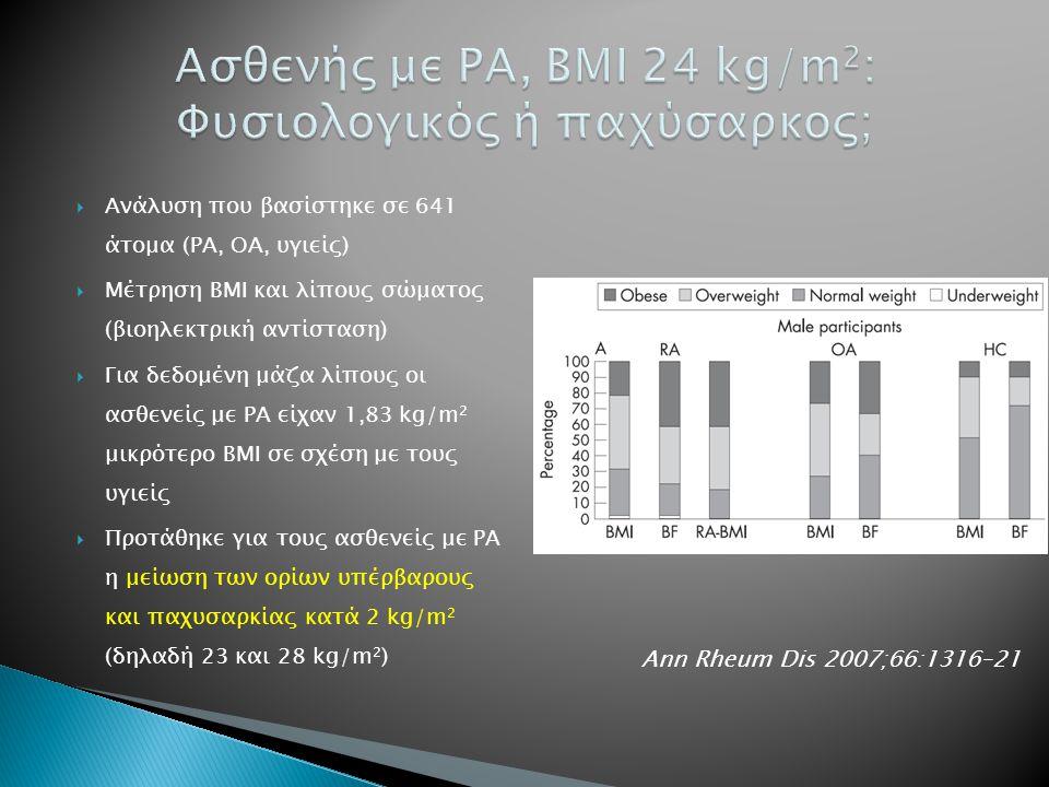  Ανάλυση που βασίστηκε σε 641 άτομα (ΡΑ, ΟΑ, υγιείς)  Μέτρηση ΒΜΙ και λίπους σώματος (βιοηλεκτρική αντίσταση)  Για δεδομένη μάζα λίπους οι ασθενείς με ΡΑ είχαν 1,83 kg/m 2 μικρότερο ΒΜΙ σε σχέση με τους υγιείς  Προτάθηκε για τους ασθενείς με ΡΑ η μείωση των ορίων υπέρβαρους και παχυσαρκίας κατά 2 kg/m 2 (δηλαδή 23 και 28 kg/m 2 ) Ann Rheum Dis 2007;66:1316–21