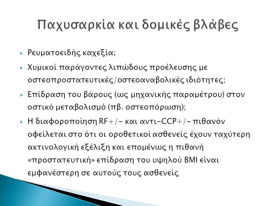  Ρευματοειδής καχεξία;  Χυμικοί παράγοντες λιπώδους προέλευσης με οστεοπροστατευτικές/οστεοαναβολικές ιδιότητες;  Επίδραση του βάρους (ως μηχανικής παραμέτρου) στον οστικό μεταβολισμό (πβ.