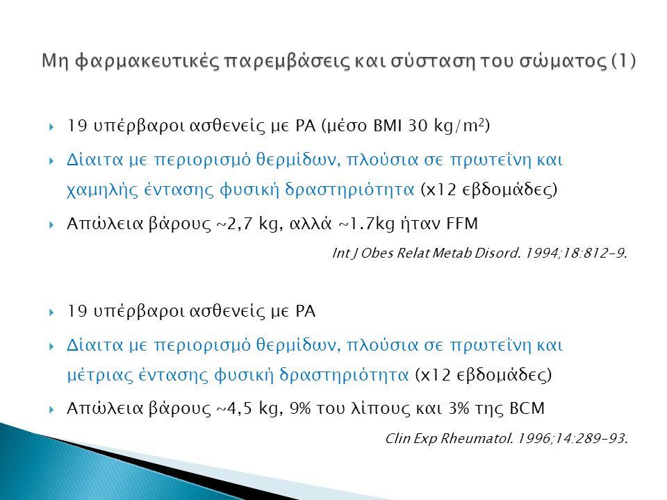  19 υπέρβαροι ασθενείς με ΡΑ (μέσο ΒΜΙ 30 kg/m 2 )  Δίαιτα με περιορισμό θερμίδων, πλούσια σε πρωτεΐνη και χαμηλής έντασης φυσική δραστηριότητα (x12 εβδομάδες)  Απώλεια βάρους ~2,7 kg, αλλά ~1.7kg ήταν FFM Int J Obes Relat Metab Disord.