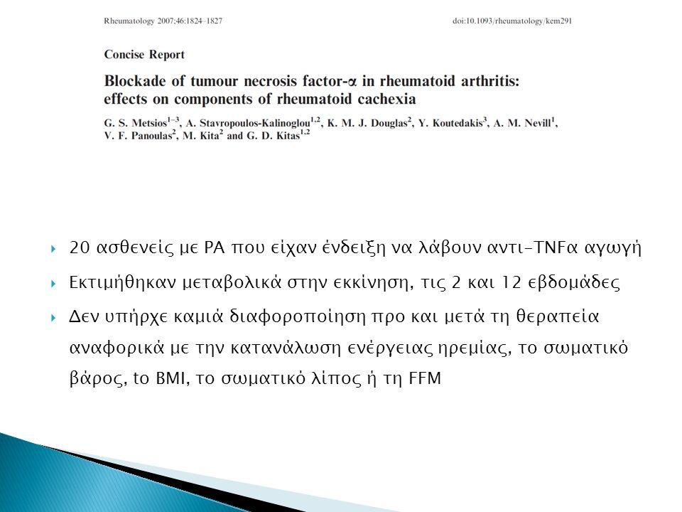  20 ασθενείς με ΡΑ που είχαν ένδειξη να λάβουν αντι-TNFα αγωγή  Εκτιμήθηκαν μεταβολικά στην εκκίνηση, τις 2 και 12 εβδομάδες  Δεν υπήρχε καμιά διαφοροποίηση προ και μετά τη θεραπεία αναφορικά με την κατανάλωση ενέργειας ηρεμίας, το σωματικό βάρος, to BMI, το σωματικό λίπος ή τη FFM