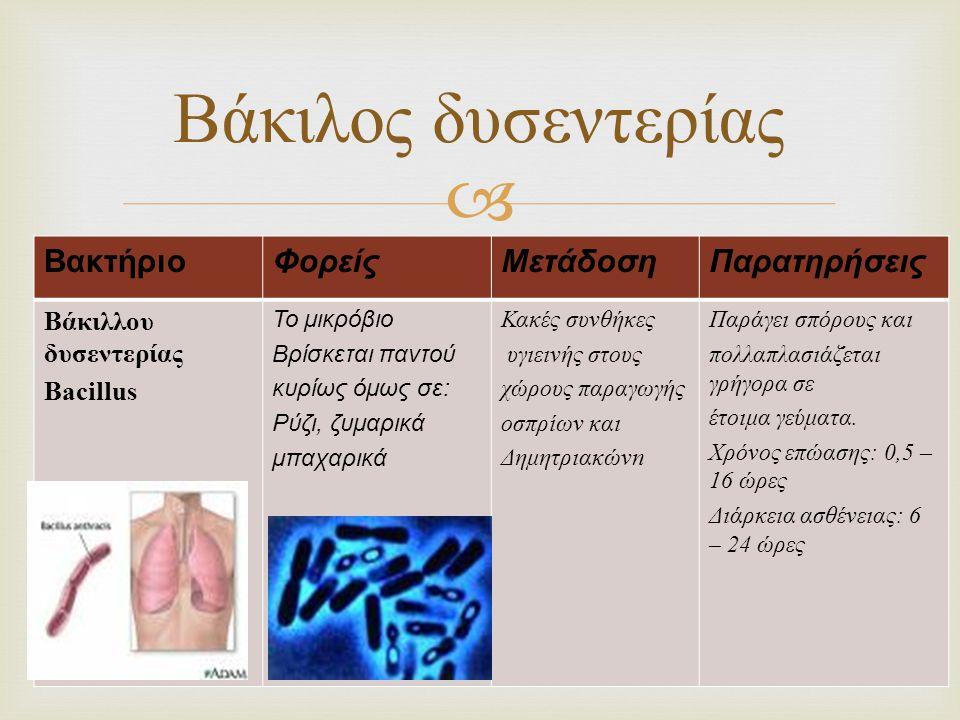  ΒακτήριοΦορείςΜετάδοσηΠαρατηρήσεις Βάκιλλου δυσεντερίας Bacillus Το μικρόβιο Βρίσκεται παντού κυρίως όμως σε: Ρύζι, ζυμαρικά μπαχαρικά Κακές συνθήκε