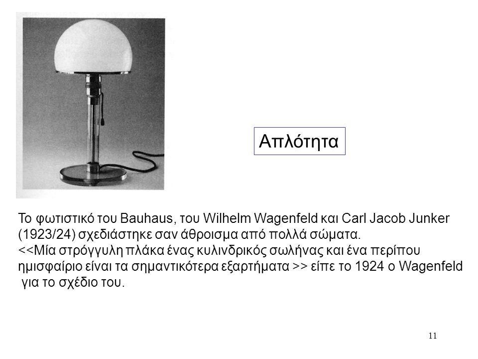 11 Το φωτιστικό του Bauhaus, του Wilhelm Wagenfeld και Carl Jacob Junker (1923/24) σχεδιάστηκε σαν άθροισμα από πολλά σώματα. > είπε το 1924 ο Wagenfe