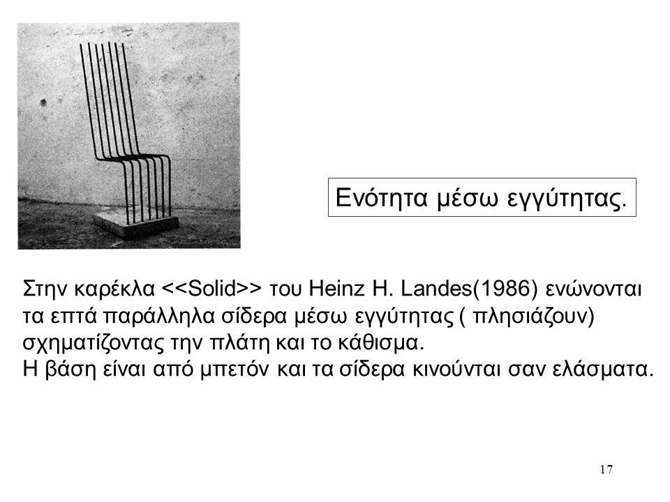17 Στην καρέκλα > του Heinz H. Landes(1986) ενώνονται τα επτά παράλληλα σίδερα μέσω εγγύτητας ( πλησιάζουν) σχηματίζοντας την πλάτη και το κάθισμα. Η