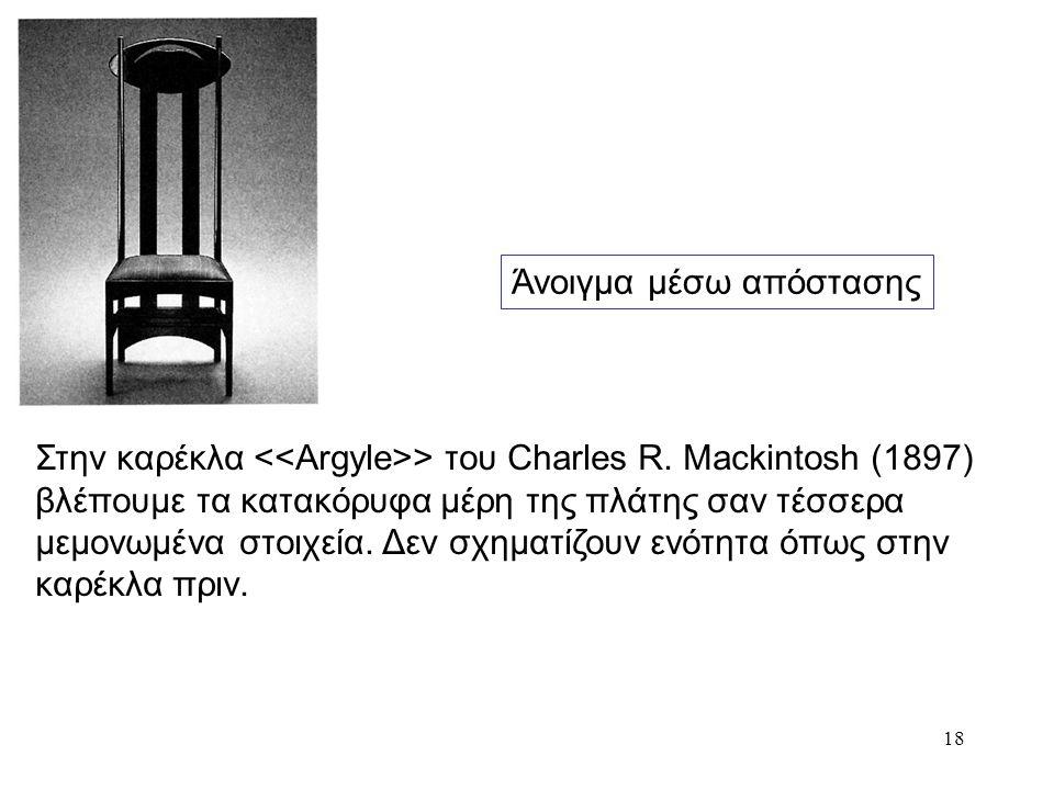 18 Άνοιγμα μέσω απόστασης Στην καρέκλα > του Charles R. Mackintosh (1897) βλέπουμε τα κατακόρυφα μέρη της πλάτης σαν τέσσερα μεμονωμένα στοιχεία. Δεν
