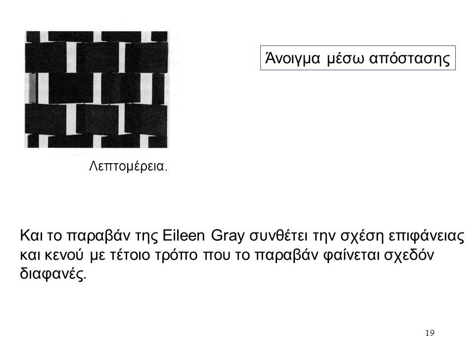 19 Και το παραβάν της Eileen Gray συνθέτει την σχέση επιφάνειας και κενού με τέτοιο τρόπο που το παραβάν φαίνεται σχεδόν διαφανές. Λεπτομέρεια. Άνοιγμ