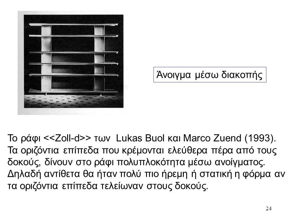 24 Άνοιγμα μέσω διακοπής Το ράφι > των Lukas Buol και Marco Zuend (1993). Τα οριζόντια επίπεδα που κρέμονται ελεύθερα πέρα από τους δοκούς, δίνουν στο