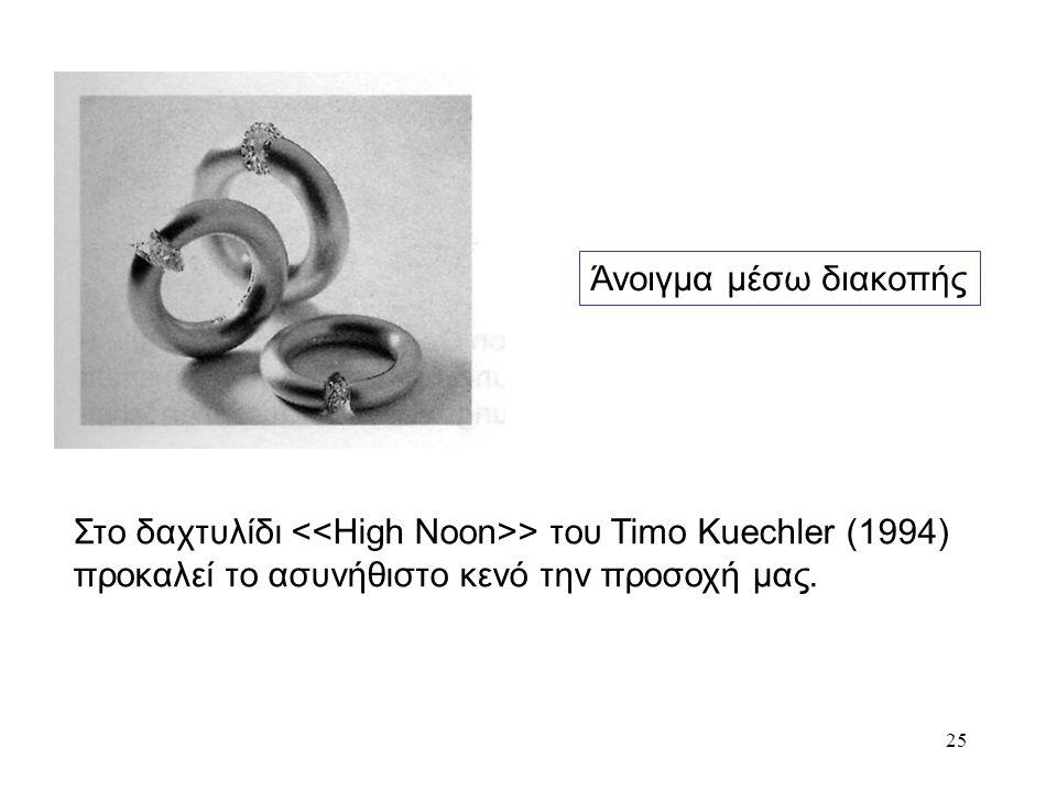 25 Άνοιγμα μέσω διακοπής Στο δαχτυλίδι > του Timo Kuechler (1994) προκαλεί το ασυνήθιστο κενό την προσοχή μας.