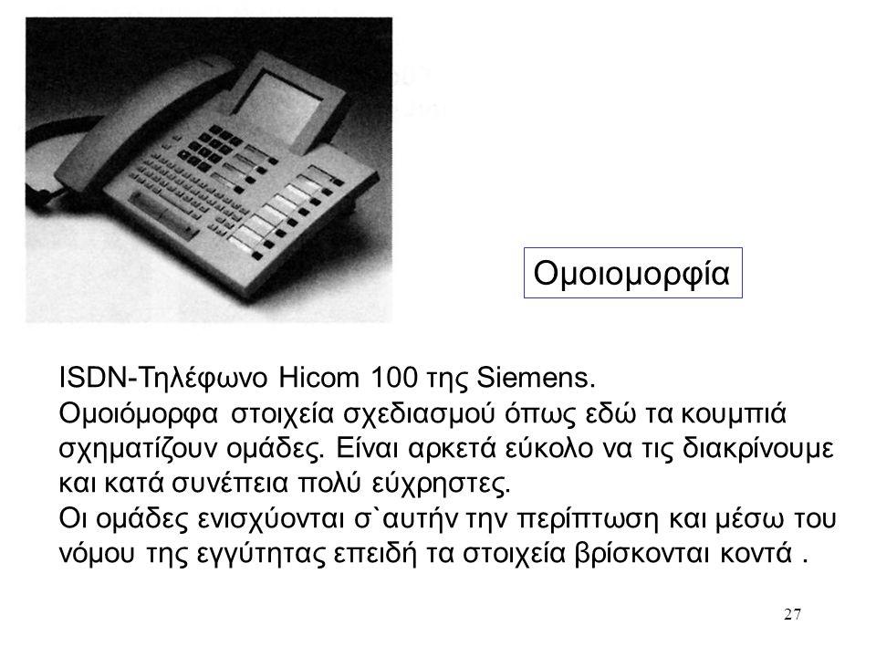 27 Ομοιομορφία ISDN-Τηλέφωνο Ηicom 100 της Siemens. Ομοιόμορφα στοιχεία σχεδιασμού όπως εδώ τα κουμπιά σχηματίζουν ομάδες. Είναι αρκετά εύκολο να τις