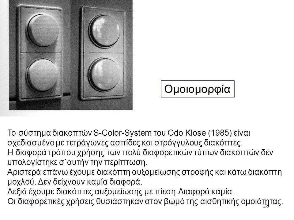 28 Ομοιομορφία Το σύστημα διακοπτών S-Color-System του Odo Klose (1985) είναι σχεδιασμένο με τετράγωνες ασπίδες και στρόγγυλους διακόπτες. Η διαφορά τ