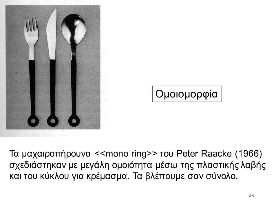 29 Ομοιομορφία Τα μαχαιροπήρουνα > του Peter Raacke (1966) σχεδιάστηκαν με μεγάλη ομοιότητα μέσω της πλαστικής λαβής και του κύκλου για κρέμασμα. Τα β