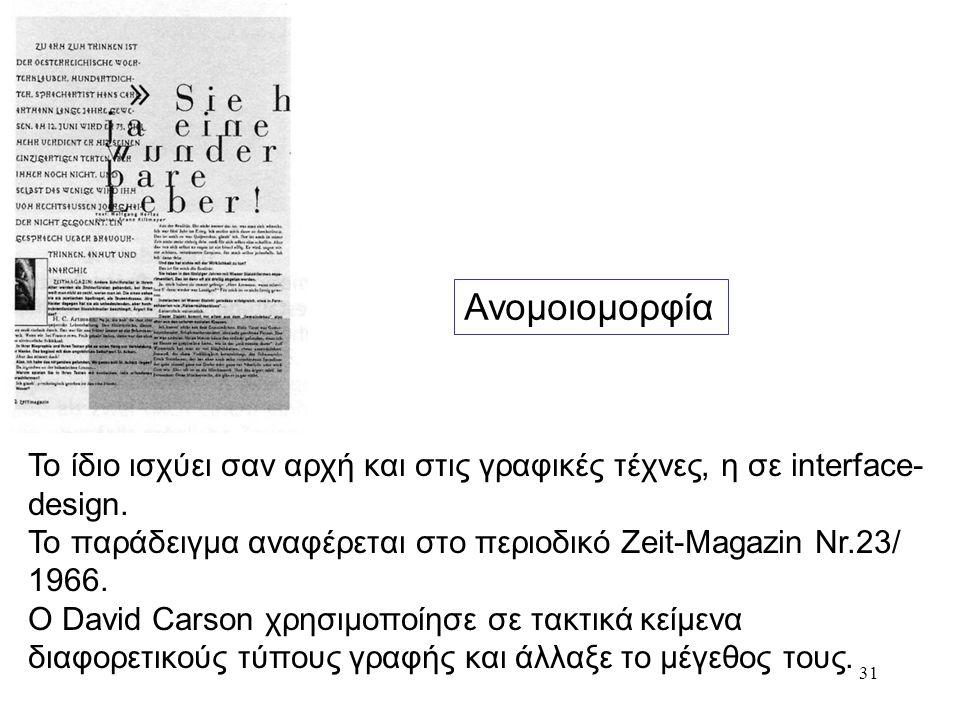 31 Ανομοιομορφία Το ίδιο ισχύει σαν αρχή και στις γραφικές τέχνες, η σε interface- design. To παράδειγμα αναφέρεται στο περιοδικό Zeit-Magazin Nr.23/